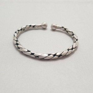 Solid 999 SILVER Snake Animal Print Bangle Cuff